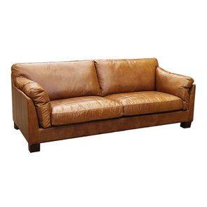 Canapé en cuir 3 places marron clair - Canberra - Visuel n°2