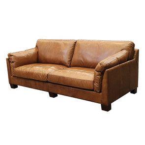 Canapé en cuir 3 places marron clair - Canberra - Visuel n°3