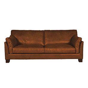 Canapé en cuir marron clair 3 places - Canberra - Visuel n°1