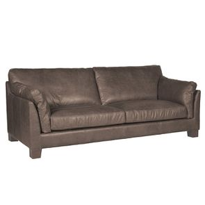 Canapé en cuir 3 places gris Napinha Graphite - Canberra - Visuel n°2