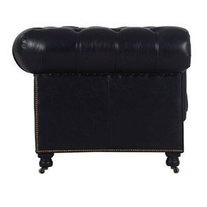 Canapé chesterfield en cuir 2 places riders black - Coventry - Visuel n°3