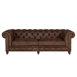 Canapé chesterfield en cuir marron vieilli 3 places - Coventry - Visuel n°1