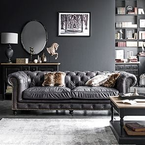 Canapé chesterfield en cuir marron 3 places - Coventry - Visuel n°6