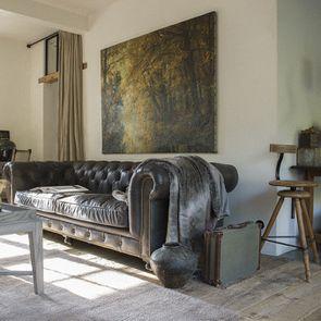Canapé chesterfield en cuir noir vieilli 3 places - Coventry - Visuel n°5