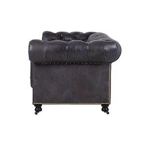 Canapé chesterfield en cuir noir vieilli 3 places - Coventry - Visuel n°9