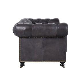 Canapé chesterfield en cuir noir vieilli 3 places - Coventry - Visuel n°10