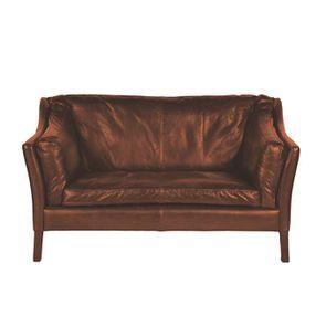Canapé en cuir marron clair 2 places - Darwin