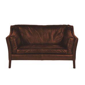 Canapé en cuir marron 2 places - Darwin