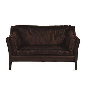 Canapé en cuir noir vieilli 2 places - Darwin