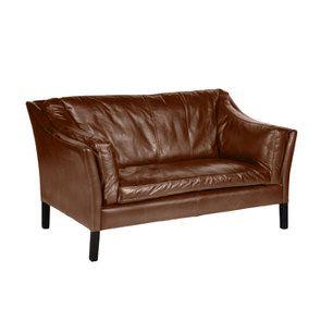 Canapé en cuir marron vieilli 2 places - Darwin - Visuel n°2