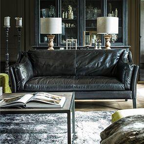 Canapé en cuir noir 3 places - Darwin - Visuel n°2