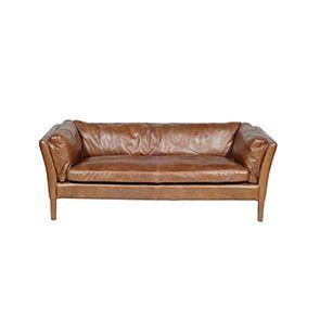 Canapé en cuir marron clair 3 places - Seattle