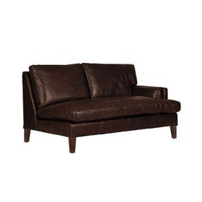 Canapé en cuir 2 places accoudoir droit marron Antic Tobacco - Stanford - Visuel n°2