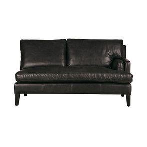 Canapé en cuir 2 places noir Napinha Ebony - Stanford