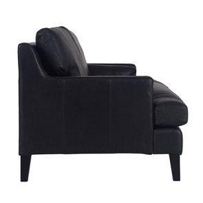 Canapé en cuir 3 places noir Napinha Ebony - Stanford - Visuel n°3