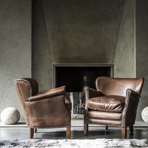 Fauteuil club en cuir marron et tissu rétro - Yale - Visuel n°3