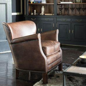 Fauteuil club en cuir marron et tissu rétro - Yale - Visuel n°4