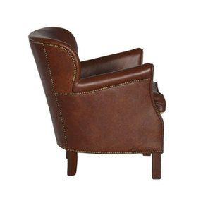 Fauteuil club en cuir marron et tissu rétro - Yale - Visuel n°6