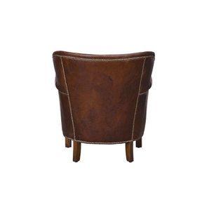 Fauteuil club en cuir marron et tissu rétro - Yale - Visuel n°7