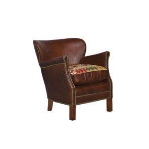 Fauteuil club en cuir marron et tissu rétro - Yale - Visuel n°8
