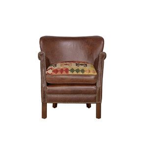 Fauteuil club en cuir marron et tissu rétro - Yale - Visuel n°9