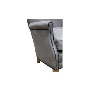 Fauteuil club en cuir gris - Yale - Visuel n°9