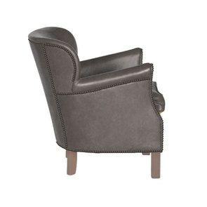 Fauteuil club en cuir gris - Yale - Visuel n°5