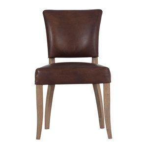 Chaise en cuir Marron Antic Whisky - Coleen (lot de 2)