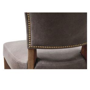 Chaise en cuir Gris Napinha Graphite - Coleen (lot de 2)