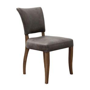Chaise en cuir Gris Napinha Graphite - Coleen (lot de 2) - Visuel n°2