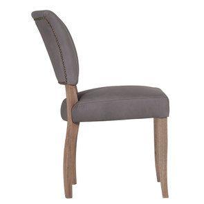Chaise en cuir Gris Napinha Graphite - Coleen (lot de 2) - Visuel n°3