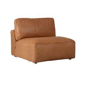 Canapé 1 place sans accoudoir en cuir camel - Kingston - Visuel n°2