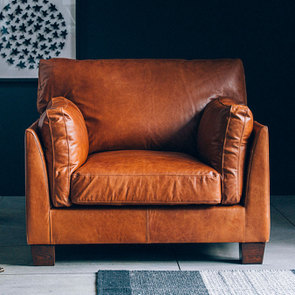 Fauteuil en cuir marron - Canberra