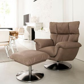 Fauteuil inclinable manuel en cuir taupe - Oslo
