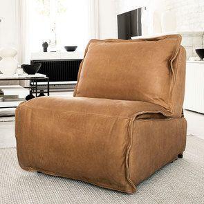 Fauteuil relax inclinable électrique en cuir camel - Copenhague