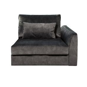 Canapé 1.5 places en tissu velours noir accoudoir droit - Baltimore