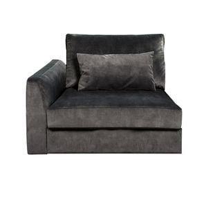 Canapé 1.5 places en tissu velours noir accoudoir gauche - Baltimore - Visuel n°1