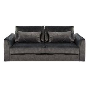 Canapé 2 places en tissu velours noir - Baltimore