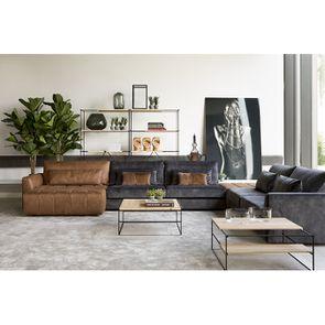 Canapé 3 places en tissu velours noir accoudoir droit - Baltimore - Visuel n°7