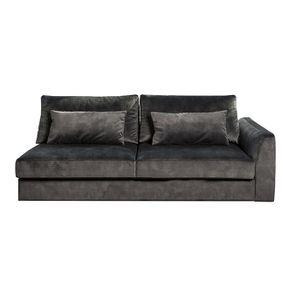 Canapé 3 places en tissu velours noir accoudoir droit - Baltimore