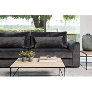 Canapé 3 places en tissu velours noir - Baltimore