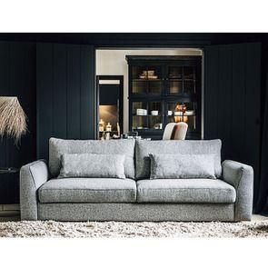 Canapé 4 places en tissu gris - Baltimore - Visuel n°3
