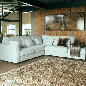 Canapé d'angle 5 places en tissu beige partie droite - Baltimore