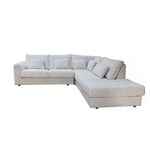 Canapé d'angle 5 places en tissu beige partie droite - Baltimore - Visuel n°8