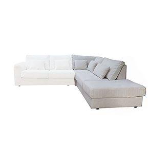 Canapé d'angle 5 places en tissu beige partie droite - Baltimore - Visuel n°1