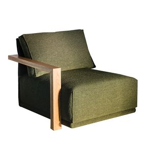 Module 1.5 place en tissu vert accoudoir bois gauche - Milano - Visuel n°1