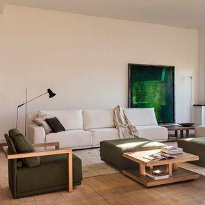 Module 1.5 place en tissu vert accoudoir bois droit - Milano - Visuel n°2