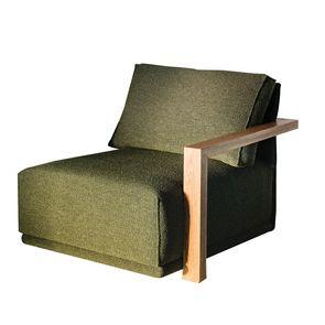 Module 1.5 place en tissu vert accoudoir bois droit - Milano - Visuel n°1