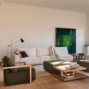 Module 1,5 places en tissu vert pour canapé d'angle en tissu  - Milano - Visuel n°2