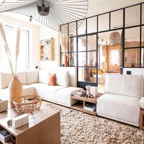 Module 1,5 places pour canapé d'angle en tissu beige - Milano - Visuel n°8